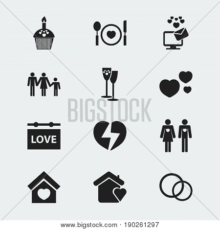 Set Of 12 Editable Passion Icons. Includes Symbols Such As Celebration, Dear, Muffin And More. Can Be Used For Web, Mobile, UI And Infographic Design.