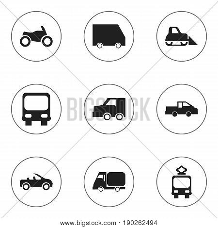 Set Of 9 Editable Shipment Icons. Includes Symbols Such As Suv, Autobus, Truck And More. Can Be Used For Web, Mobile, UI And Infographic Design.