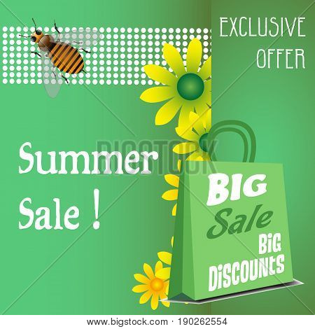 Green background with yellow flowers, bee, shopping bag and the text summer sale written with white letters