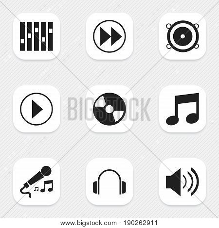Set Of 9 Editable Audio Icons. Includes Symbols Such As Sound, Karaoke, Rewind And More. Can Be Used For Web, Mobile, UI And Infographic Design.