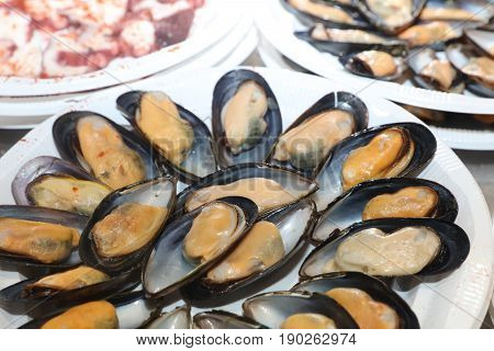 Fresh Mussels on Fish Market in Madrid. Spain