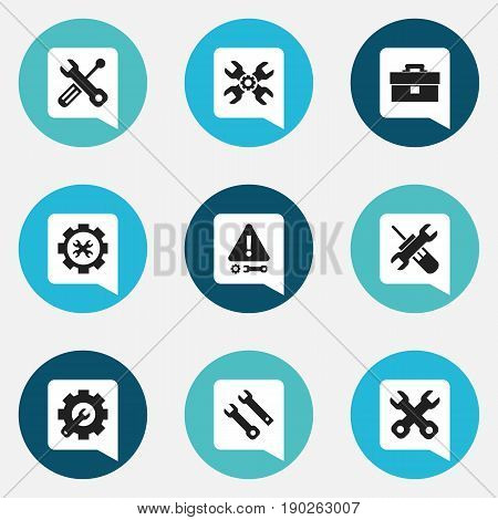Set Of 9 Editable Toolkit Icons. Includes Symbols Such As Technical Support, Caution, Spanner And More. Can Be Used For Web, Mobile, UI And Infographic Design.