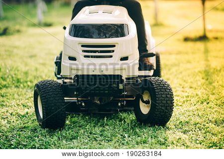 Close Up Details Of New Lawn Tractor, Industrial Tools For Landscaping