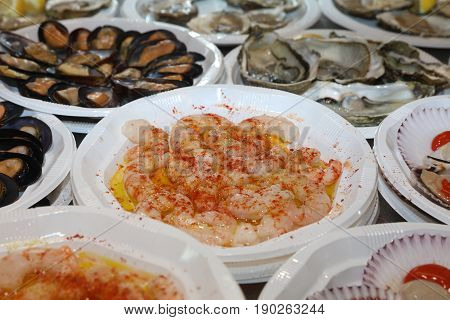 Fresh Shrimps and Mussels on Fish Market in Madrid. Spain