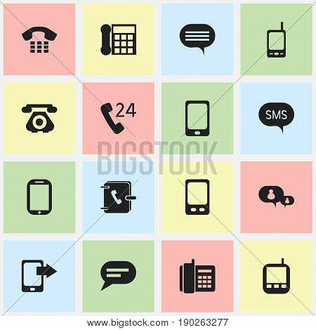 Set Of 16 Editable Phone Icons. Includes Symbols Such As Home Cellphone, Radio Talkie, Calling Device And More. Can Be Used For Web, Mobile, UI And Infographic Design.