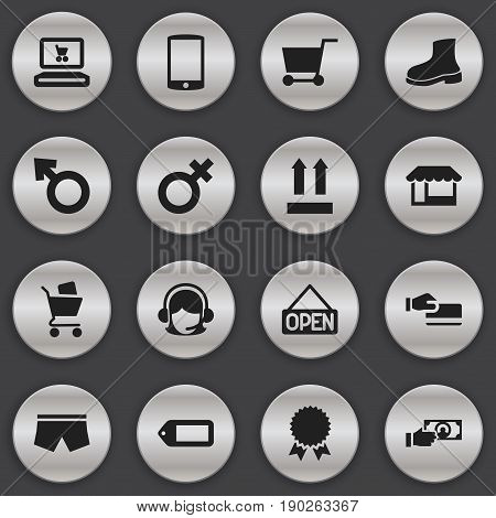 Set Of 16 Editable Shopping Icons. Includes Symbols Such As Grocery, Disbursement, Medal And More. Can Be Used For Web, Mobile, UI And Infographic Design.
