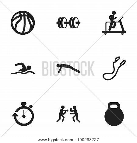 Set Of 9 Editable Healthy Icons. Includes Symbols Such As Training Pool, Barbell, Weightiness And More. Can Be Used For Web, Mobile, UI And Infographic Design.