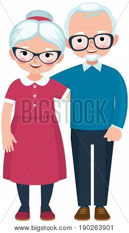 Elderly loving couple husband and wife at full length are embracing on white background cartoon vector illustration