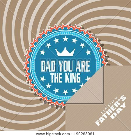 Happy Father's Day vector poster with blue label and brown paper pocket on the background with curved rays.