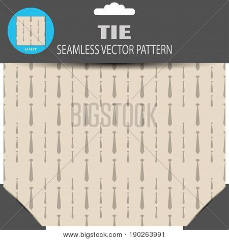 Seamless vector pattern with brown neckties on the light brown background in the package with pattern unit and shadow.