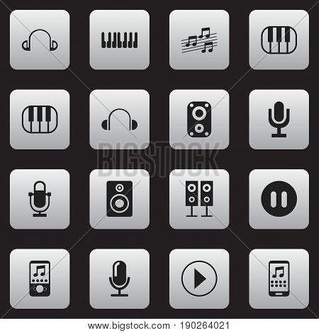 Set Of 16 Editable Sound Icons. Includes Symbols Such As Volume Speaker, Synthesizer, Mike And More. Can Be Used For Web, Mobile, UI And Infographic Design.