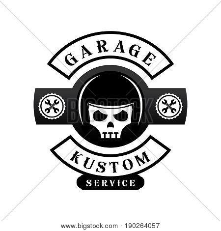 garage custom logo design with helmet on skull gear and spanner icon