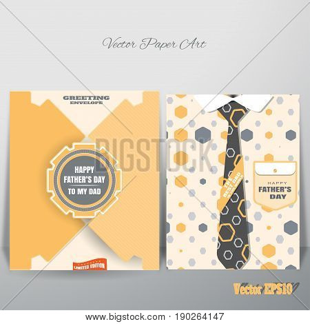 Vector yellow greeting paper envelope for Father's Day with label and insert which is leaning against the wall.