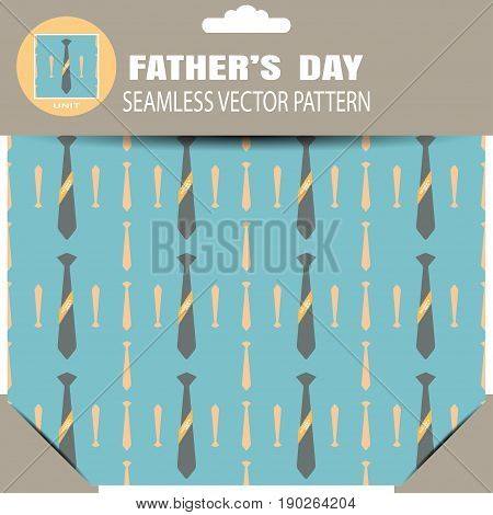 Seamless vector pattern with neckties and yellow stripe on the turquoise background for Happy Father's Day in the package with pattern unit and shadow.