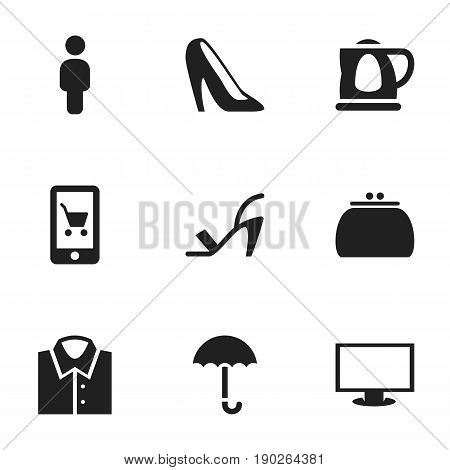 Set Of 9 Editable Shopping Icons. Includes Symbols Such As Stiletto, E-Commerce, Gingham And More. Can Be Used For Web, Mobile, UI And Infographic Design.