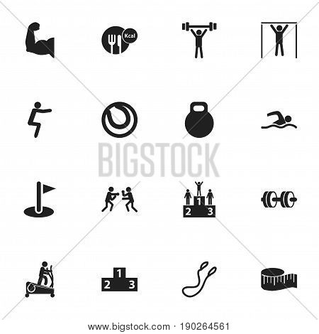Set Of 16 Editable Healthy Icons. Includes Symbols Such As Fight, Biceps, Healthy Food And More. Can Be Used For Web, Mobile, UI And Infographic Design.