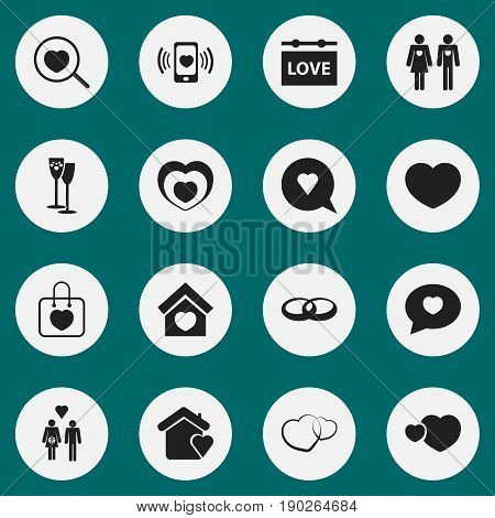 Set Of 16 Editable Love Icons. Includes Symbols Such As Smartphone, Celebration, Loupe And More. Can Be Used For Web, Mobile, UI And Infographic Design.