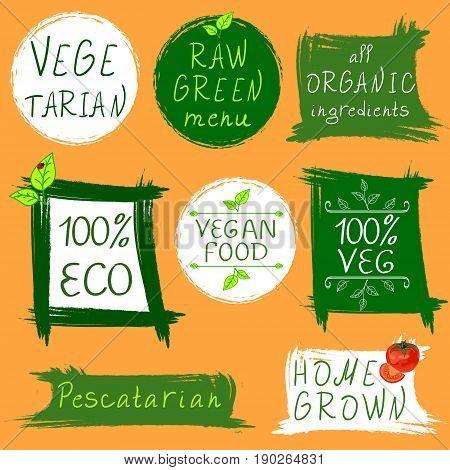 Vintage signs: vegetarian, raw green menu, all organic ingredients, 100 ECO, vegan food, 100 VEG, pescatarian, home grown. VECTOR signs on orange background