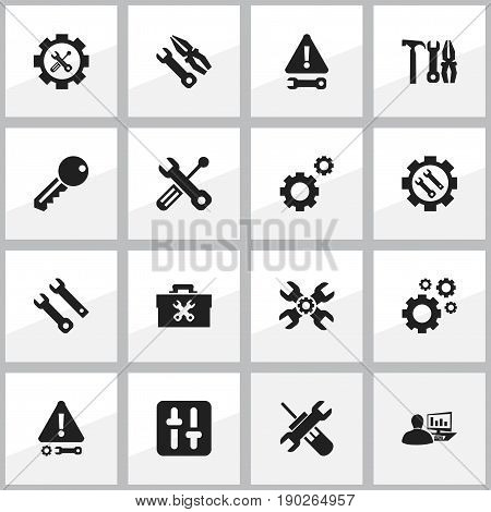 Set Of 16 Editable Toolkit Icons. Includes Symbols Such As Caution, Access, Technical Support And More. Can Be Used For Web, Mobile, UI And Infographic Design.