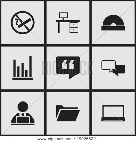 Set Of 9 Editable Office Icons. Includes Symbols Such As Workman In Laptop, Office Desk, Monitor And More. Can Be Used For Web, Mobile, UI And Infographic Design.