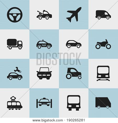 Set Of 16 Editable Shipment Icons. Includes Symbols Such As Aircraft, Autobus, Wagon And More. Can Be Used For Web, Mobile, UI And Infographic Design.