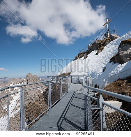Lookout Platform At Nebelhorn And Summit Cross, Allgau Alps