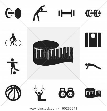 Set Of 12 Editable Active Icons. Includes Symbols Such As Bicycle Rider, Physical Education, Weightlifting And More. Can Be Used For Web, Mobile, UI And Infographic Design.