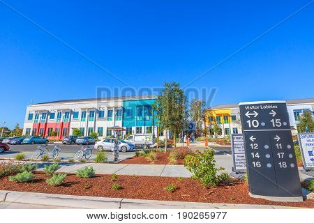 Mountain View, CA, United States - August 15, 2016: parking lot of the Facebook headquarter, the world leader social network company. located in Silicon Valley.