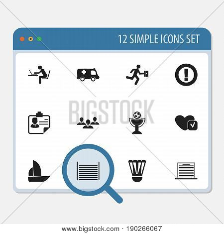 Set Of 12 Editable Complicated Icons. Includes Symbols Such As Businessman, Yacht, Blank And More. Can Be Used For Web, Mobile, UI And Infographic Design.