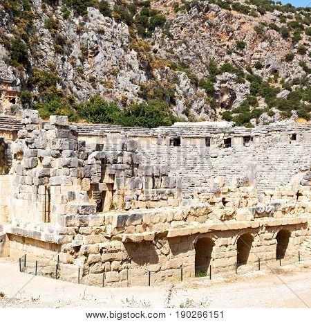 In  Myra Turkey Europe Old Roman Necropolis And Indigenous Tomb Stone
