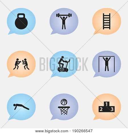 Set Of 9 Editable Fitness Icons. Includes Symbols Such As Street Workout, Platform For Winner, Bodybuilding And More. Can Be Used For Web, Mobile, UI And Infographic Design.