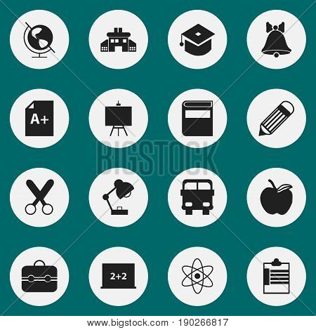 Set Of 16 Editable Education Icons. Includes Symbols Such As Jingle, Literature, Writing Board And More. Can Be Used For Web, Mobile, UI And Infographic Design.