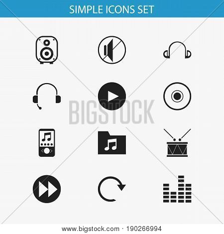 Set Of 12 Editable Song Icons. Includes Symbols Such As Call Center, Bar Wave, Timpano And More. Can Be Used For Web, Mobile, UI And Infographic Design.