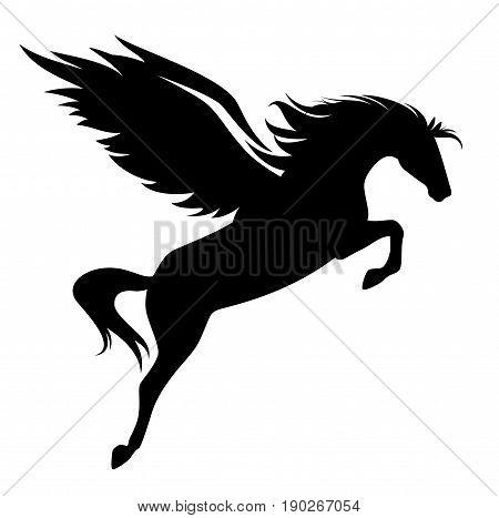 jumping pegasus - winged horse black vector design