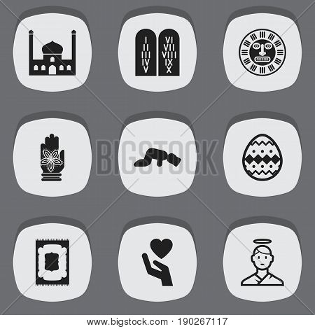 Set Of 9 Editable Faith Icons. Includes Symbols Such As Tribal Mask, Ancient Stone Text, Muslim Carpet And More. Can Be Used For Web, Mobile, UI And Infographic Design.