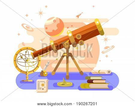 Astronomy design flat. Retro science, astrology instrument, star astronomical, vector illustration