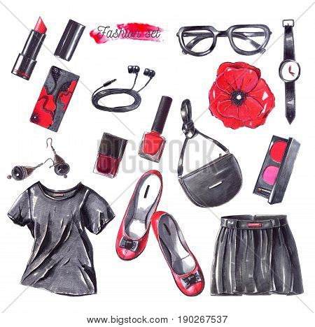 Set with black red and white fashion objects hand drawn with pencils and sketch markers. Women accessories isolated on white background. Large raster illustration with bag clothes shoes glasses.