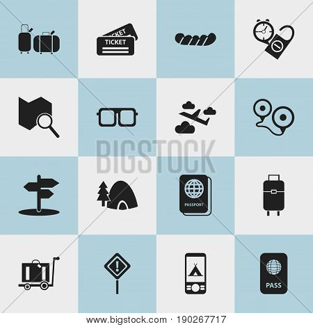 Set Of 16 Editable Trip Icons. Includes Symbols Such As Crossroad, Telephone, Caution And More. Can Be Used For Web, Mobile, UI And Infographic Design.