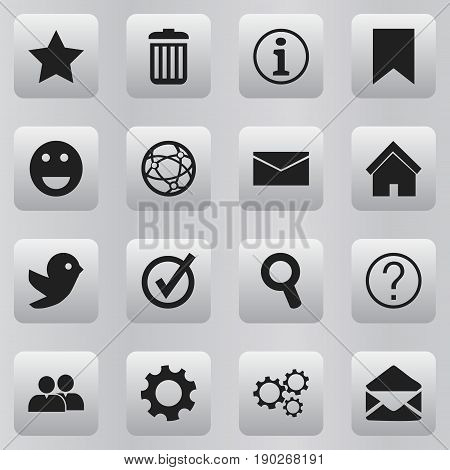 Set Of 16 Editable Web Icons. Includes Symbols Such As Gear, Tag, Network And More. Can Be Used For Web, Mobile, UI And Infographic Design.