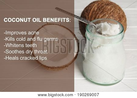 Spoon, glass jar with fresh coconut oil and list of benefits on wooden background. Beauty concept