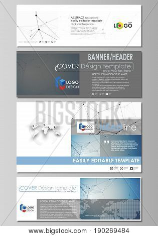 Social media and email headers set, modern banners. Business templates. Easy editable abstract design template, vector layouts in popular sizes. Geometric blue color background, molecule structure, science concept. Connected lines and dots.