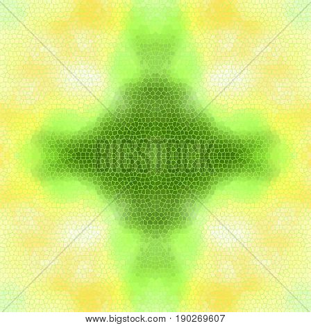 Stain-glass window background VECTOR template. Yellow and green