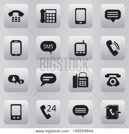 Set Of 16 Editable Phone Icons. Includes Symbols Such As Message, Chatting, Transceiver And More. Can Be Used For Web, Mobile, UI And Infographic Design.