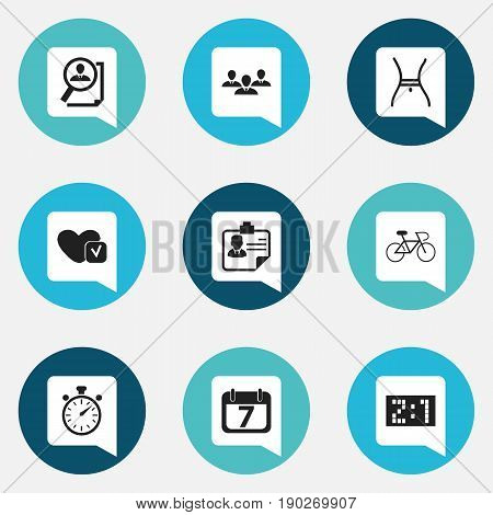 Set Of 9 Editable Complex Icons. Includes Symbols Such As Velocipede, Search, Chronometer And More. Can Be Used For Web, Mobile, UI And Infographic Design.