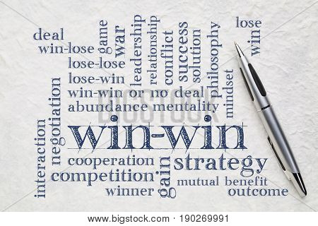win-win strategy word cloud - handwriting on a white lokta paper