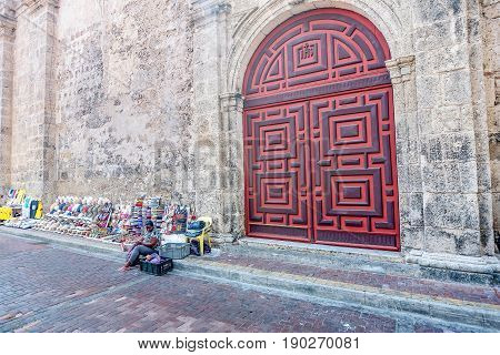Cartagena, Colombia- March 2, 2017:Doors of Church of San Pedro Claver in old town Cartagena Colombia