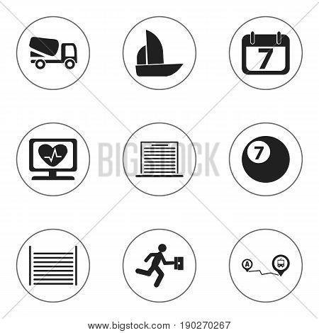 Set Of 9 Editable Mixed Icons. Includes Symbols Such As Yacht, Heart Rhythm, Navigation And More. Can Be Used For Web, Mobile, UI And Infographic Design.