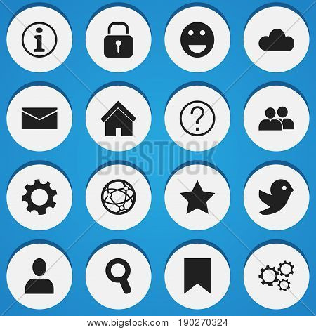 Set Of 16 Editable  Icons. Includes Symbols Such As Profile, Gear, Faq And More. Can Be Used For Web, Mobile, UI And Infographic Design.