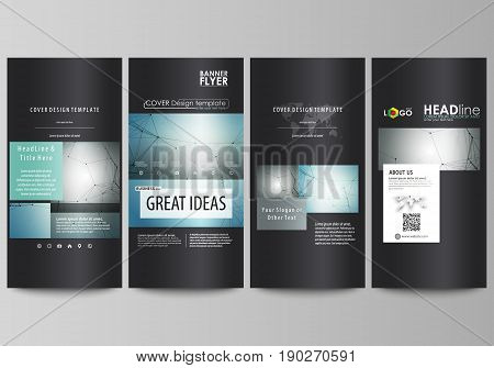 Flyers set, modern banners. Business templates. Cover design template, easy editable abstract vector layouts. Geometric background, connected line and dots. Molecular structure. Scientific, medical, technology concept