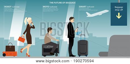 Businesswoman with robot suitcase, elderly woman on a moto bag and a businessman with a smart case in the airport terminal at the counter baggage drop-off. The future of luggage. Vector illustration.